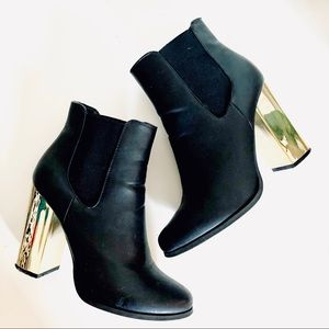 FOREVER21 F21 Gold Chunky Heeled Leather Booties